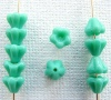 Flower Bell Green 6mm Turquoise 63130 Czech Glass Bead x 50