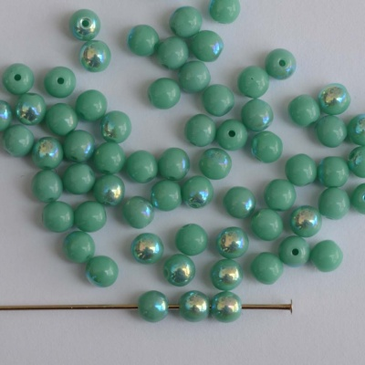 Druk Round Green 3 4 6 mm Turquoise AB 63130-28701 Czech Glass Beads