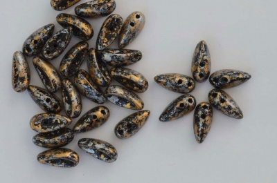 Chilli Gold Jet Tweedy Gold 23980-45704 Czech Glass Bead x 25