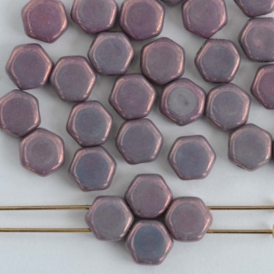 Honeycomb Purple Vega on Chalk 03000-15726 Czech Glass Beads x30