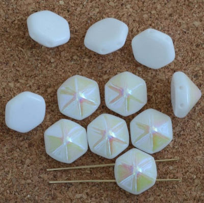 Pyramid Hex White 12mm Chalk White Ab  02020-28701 Czech Glass Beads x 12